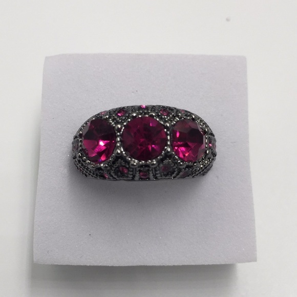 ab1ce460d8e1d AAA three 1 CARAT RED RUBY Black rhodium plated NWT